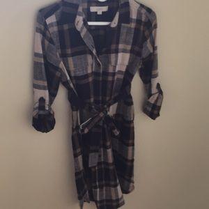 Loft plaid tie waist dress Small